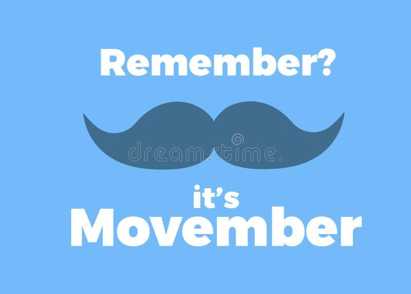 Movember, heft bekendheid met de gezondheidskwesties van mensen op als prostate kanker Vectorillustratie met tekst en snor vector illustratie