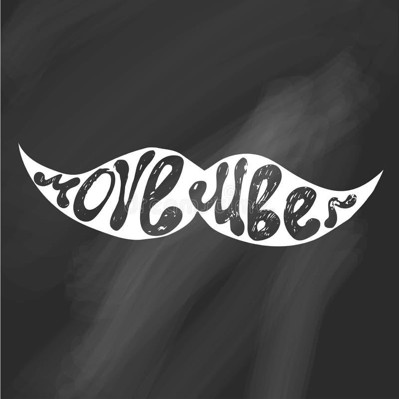 Movember Het vectorhand van letters voorzien met snor De affiche, de banner en de kaart van de kankervoorlichting vector illustratie