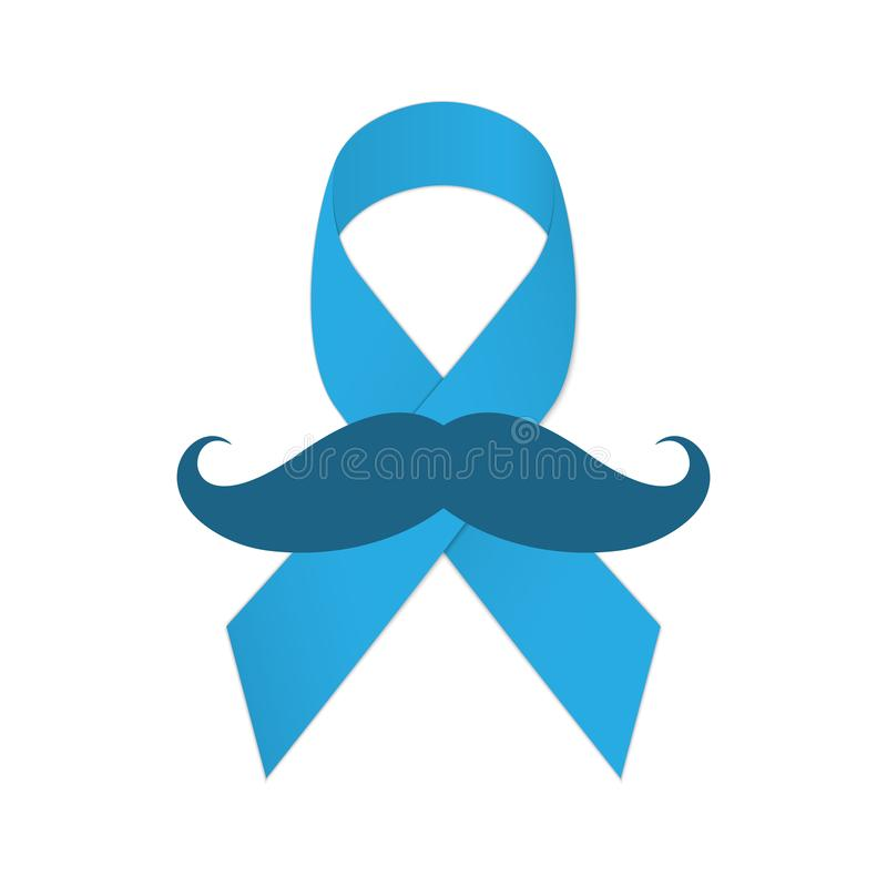 Movember icon. Mustache and blue ribbon as a symbol of struggle with cancer. Vector Illustration royalty free illustration