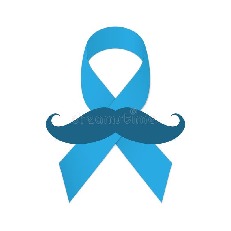 Movember-Ikone Schnurrbart und blaues Band als Symbol des Kampfes mit Krebs lizenzfreie abbildung