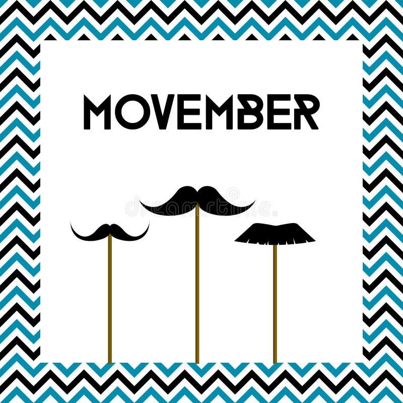 Movember Mese di salute del ` s degli uomini Consapevolezza del Cancro Scheda di vettore illustrazione di stock