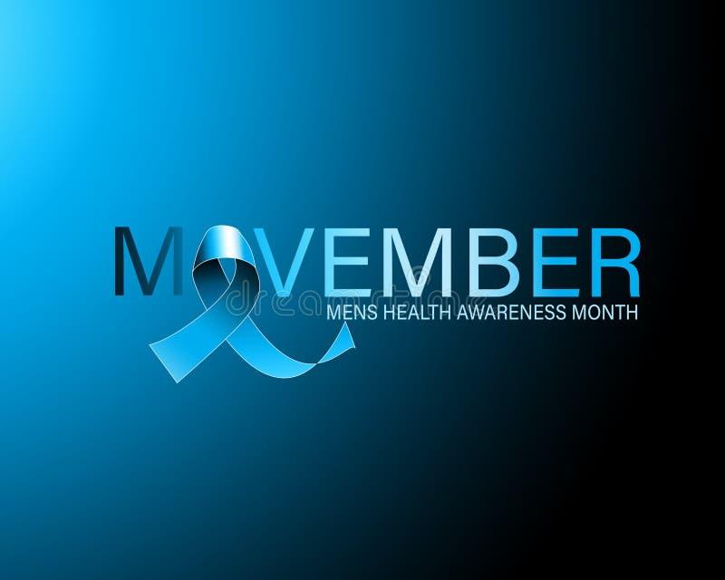 Movember of November-de affiche van de de voorlichtingsmaand van de mensengezondheid of banner van blauw lint stock illustratie