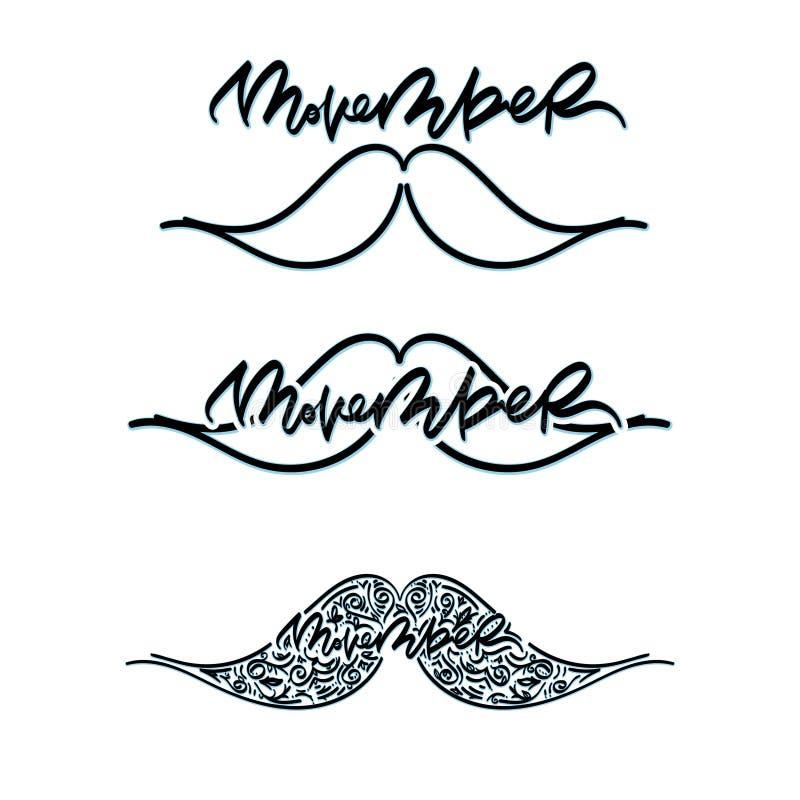 Movember nowotworu świadomości ikony set ilustracja wektor