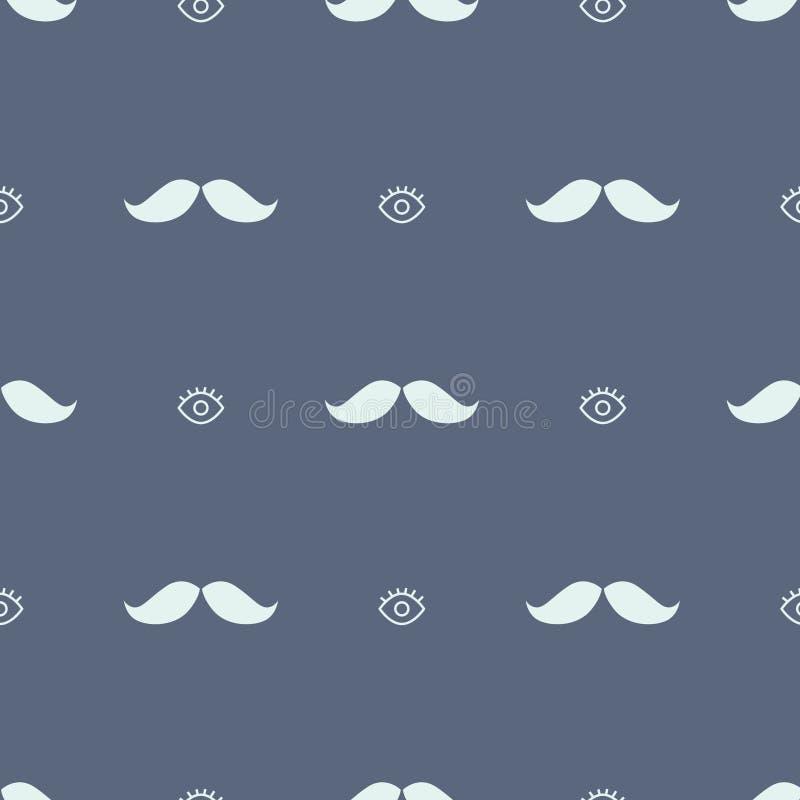 Movember oka i wąsy modnisia bezszwowy wzór ilustracji