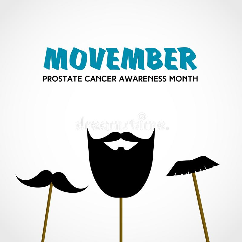 Movember. Prostate cancer awareness month. Vector with mustache props vector illustration