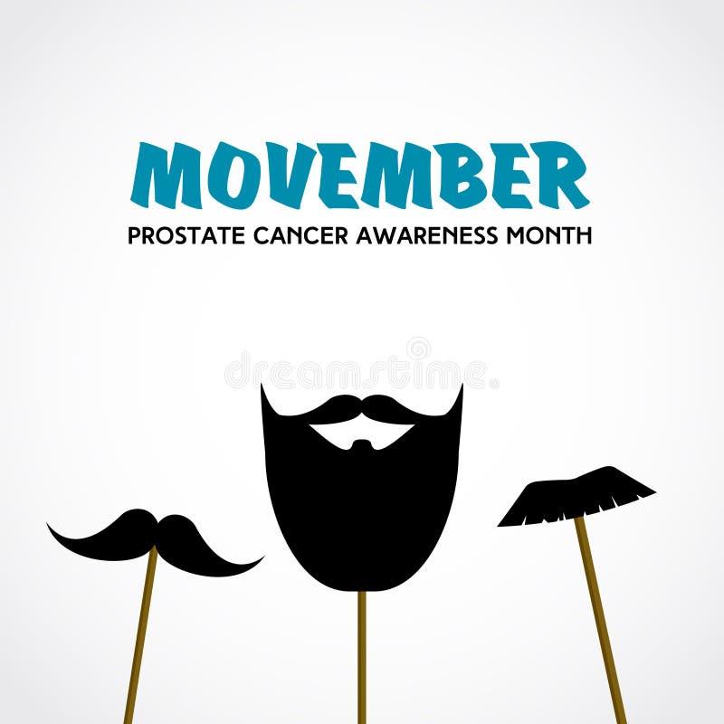 Movember Prostate maand van de kankervoorlichting Vector met snorsteunen vector illustratie