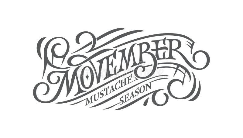 Movember Retro iscrizione sul fondo isolato bianco Mese di consapevolezza del carcinoma della prostata Concetto di salute del ` s illustrazione vettoriale