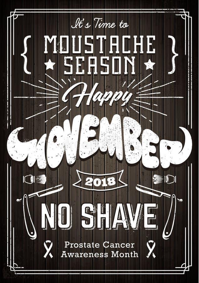 Movember rocznika Plakatowy projekt ilustracji