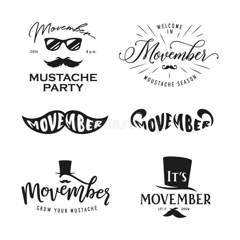 Movember sezonu typografii set Wektorowa rocznik ilustracja ilustracji
