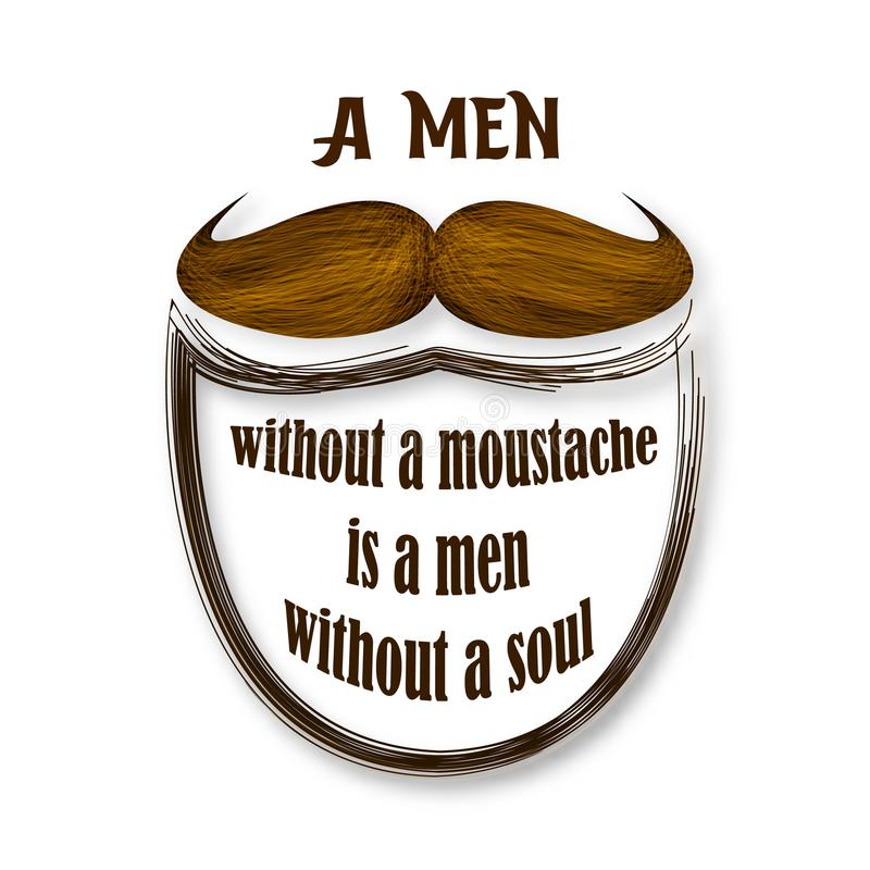 Movember vector illustration. Brown vintage moustache. Retro collection. royalty free illustration