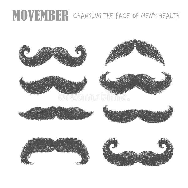 Movember wąsy set ilustracji