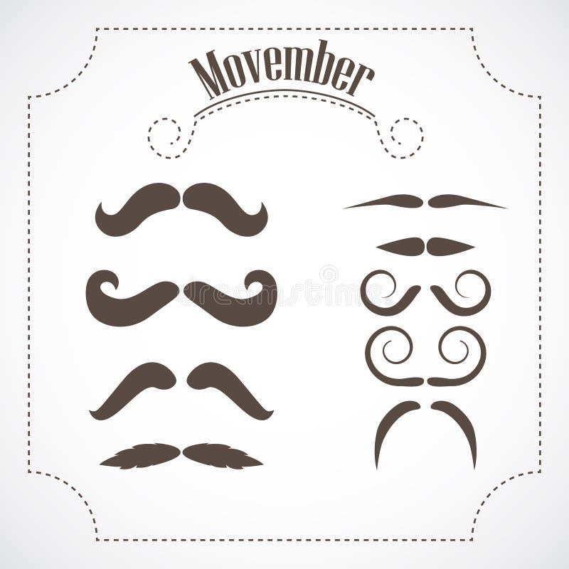 Movember wąsy set ilustracja wektor