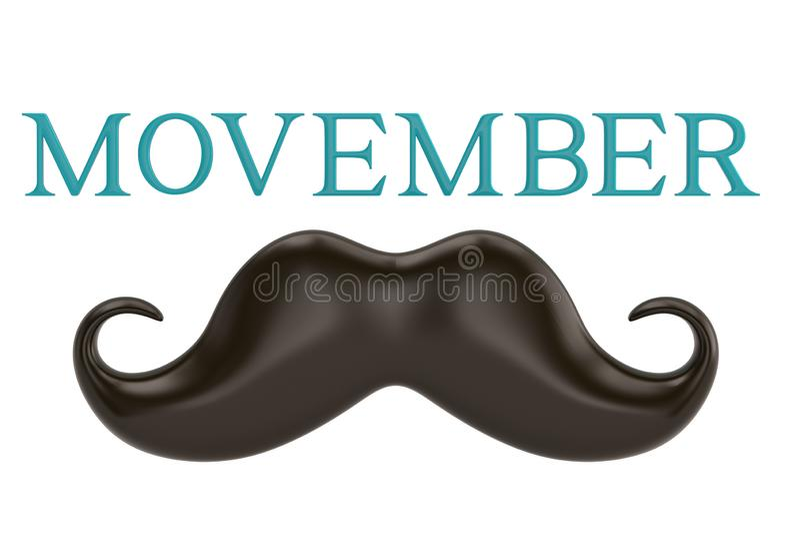 Movember z wąsy odizolowywającym na białym tła 3D illustrat ilustracja wektor