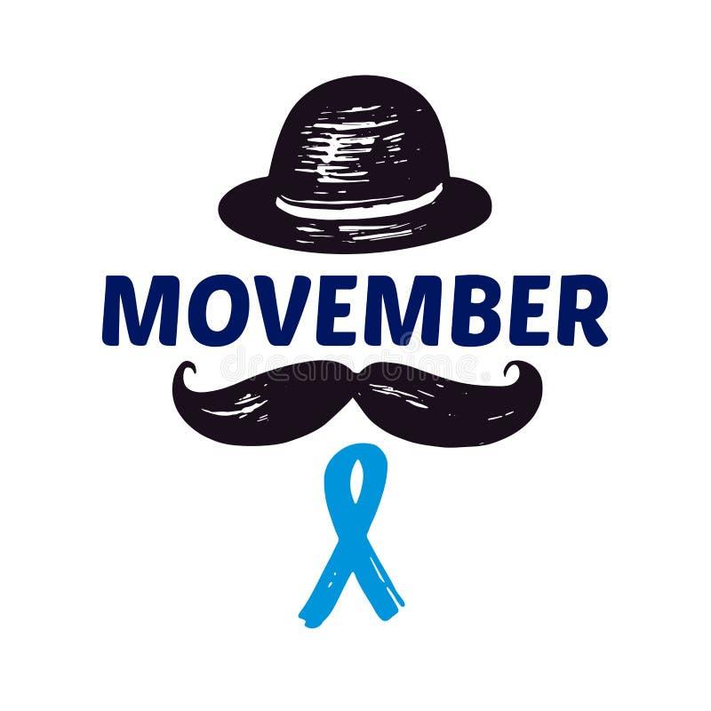 Movemberhand die vectoruitdrukking met snor en een heren` s hoed van letters voorzien stock illustratie