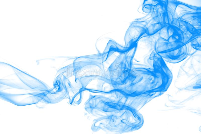 Movement blue smoke abstract on white background, ink water stock photos