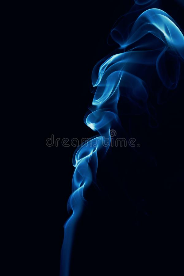 Movement of blue smoke stock images