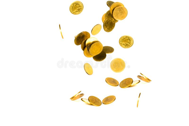 Movement of falling gold coin, flying coin, rain money isolated on white background, business and financial wealth and take profit royalty free stock image