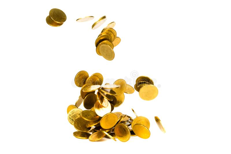 Movement of falling gold coin, flying coin, rain money isolated on white background, business and financial wealth and take profit royalty free stock photos