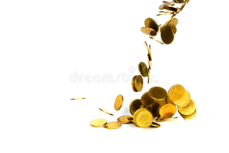 Movement of falling gold coin, flying coin, rain money isolated on white background, business and financial wealth and take profit stock image