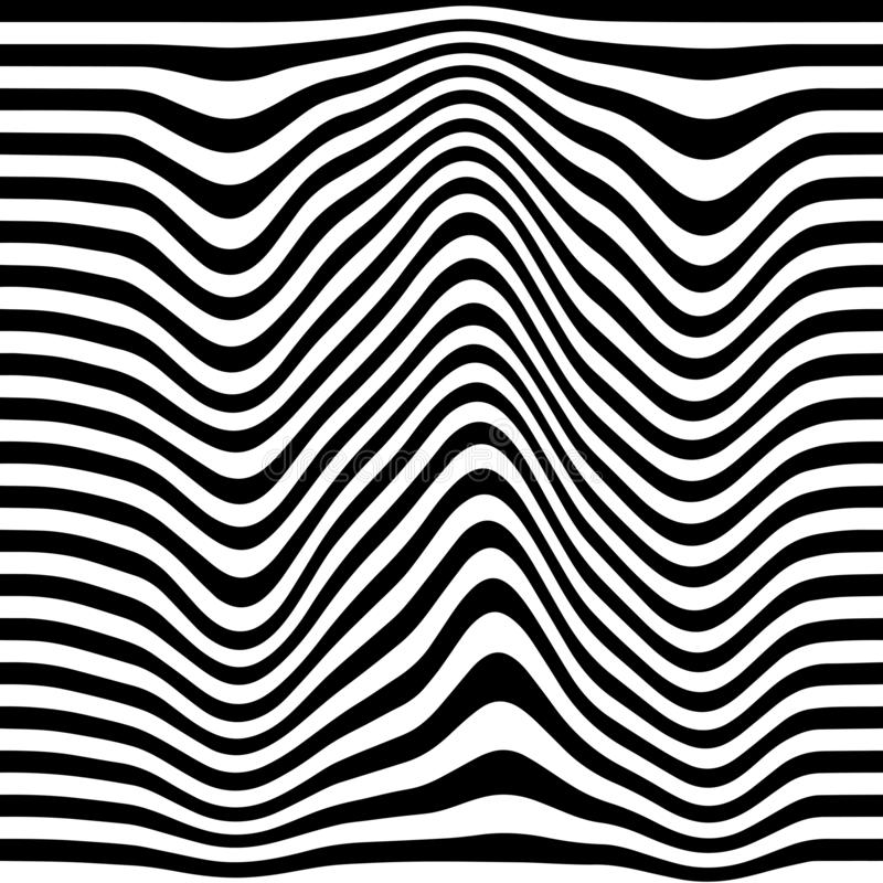 Movement lines illusion. Abstract wave whith black and white curve lines. Vector optical illusion vector illustration
