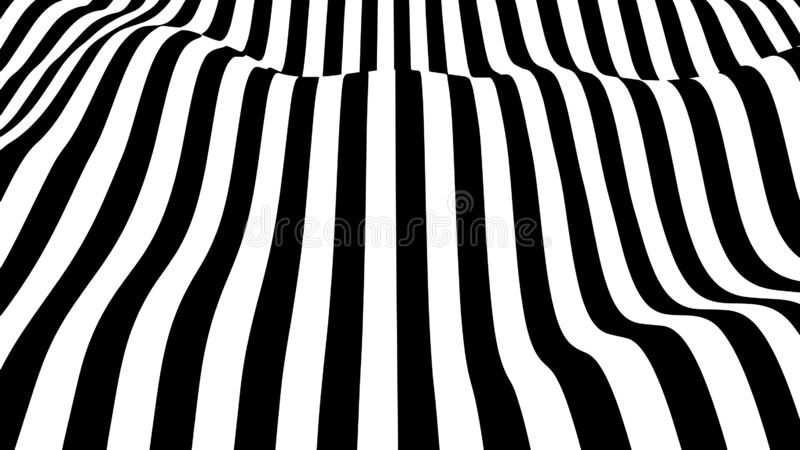 Movement lines illusion. Abstract wave whith black and white curve lines. Vector optical illusion royalty free illustration