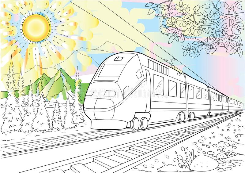 The Movement Of The Train Against The Background Of ...