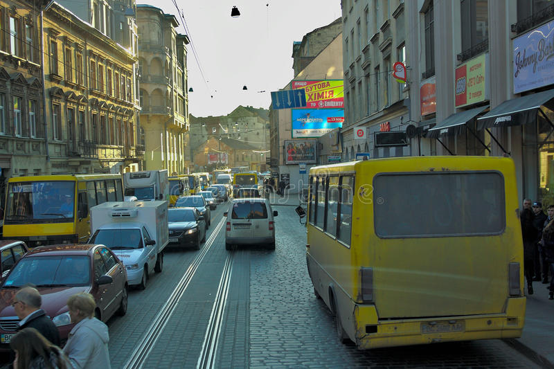 The movement of vehicles and pedestrians in the center of Lviv, Ukraine. royalty free stock images