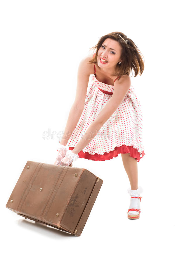 Movendo uma mala de viagem fotografia de stock royalty free