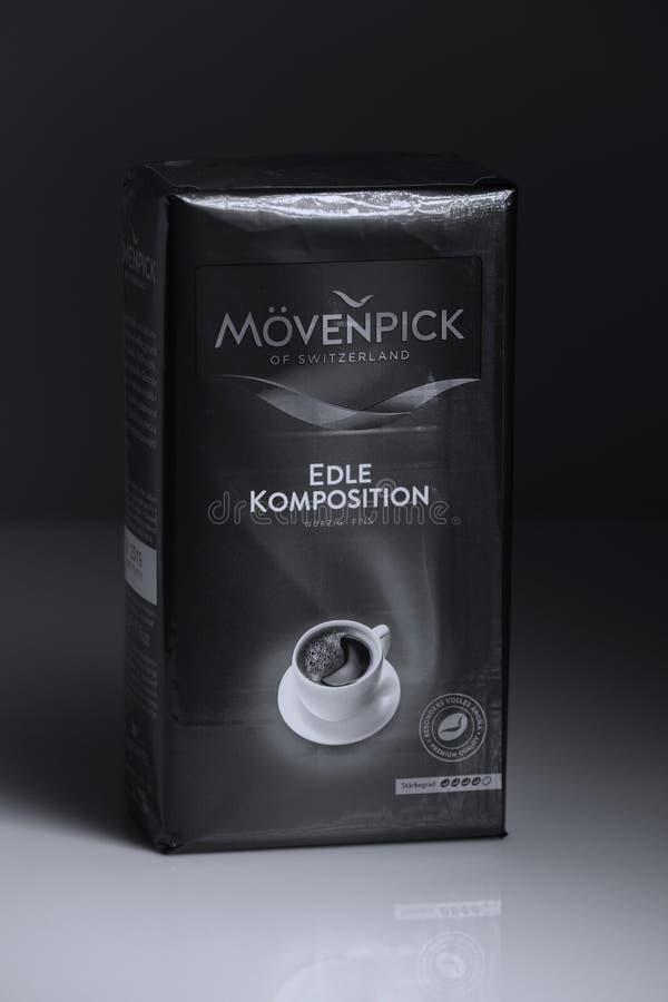 Movenpick, πακέτο του καφέ Ελβετικό εμπορικό σήμα, διάστημα αντιγράφων στοκ εικόνες με δικαίωμα ελεύθερης χρήσης