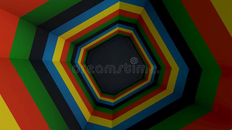 Mover-se através do túnel espiral reto da cor Animação dada laços Túnel de giro da cor da forma quadrada ilustração royalty free