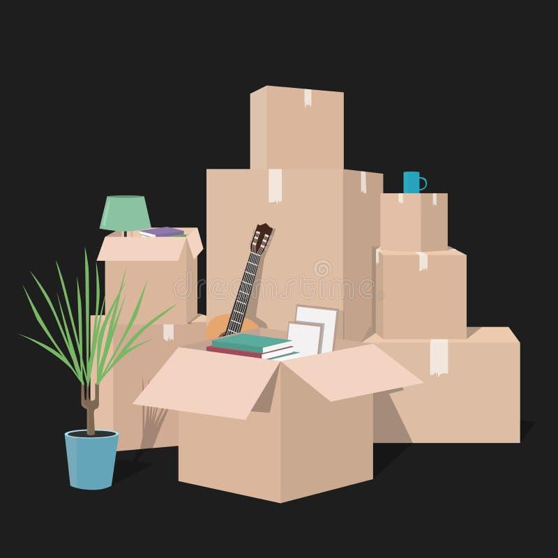 Mover-se com caixas Coisas na caixa Empresa do transporte ilustração do vetor