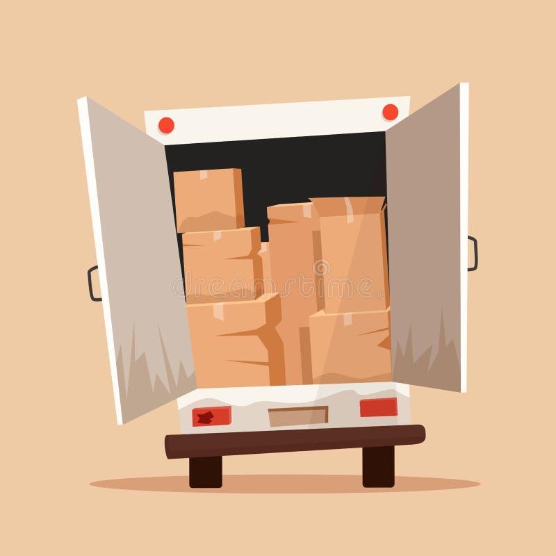 Mover-se com caixas Empresa do transporte Ilustração do vetor dos desenhos animados ilustração do vetor