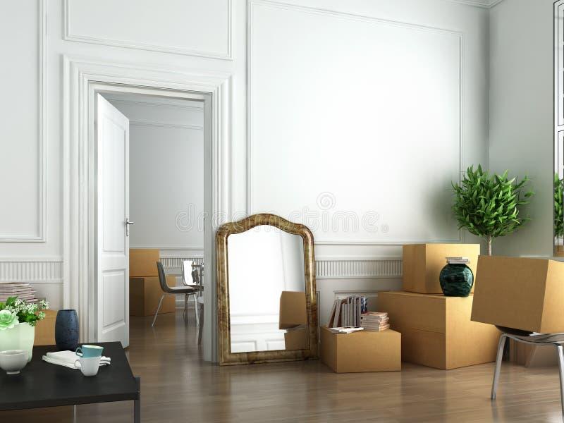 Mover-se dentro para um plano novo ilustração royalty free