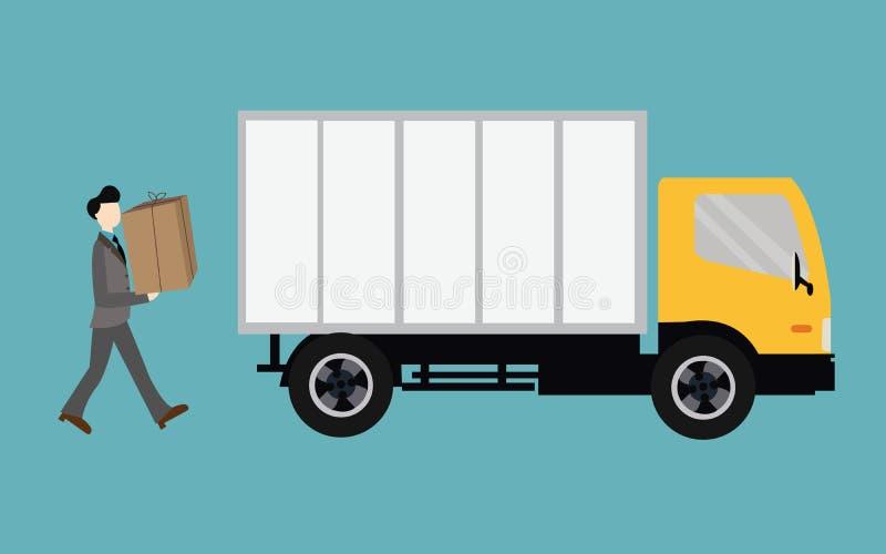 Mover-se dos povos traz a caixa no recipiente do caminhão ilustração stock