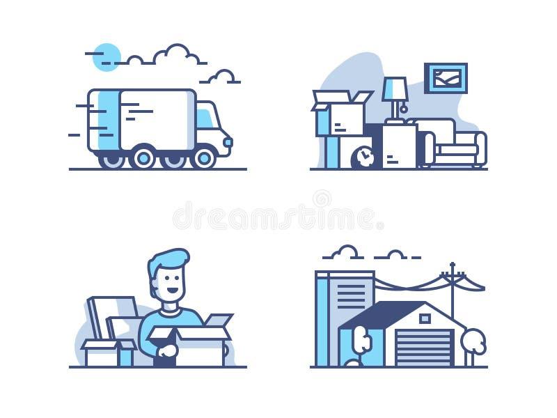 Mover-se e armazenamento no armazém ilustração royalty free
