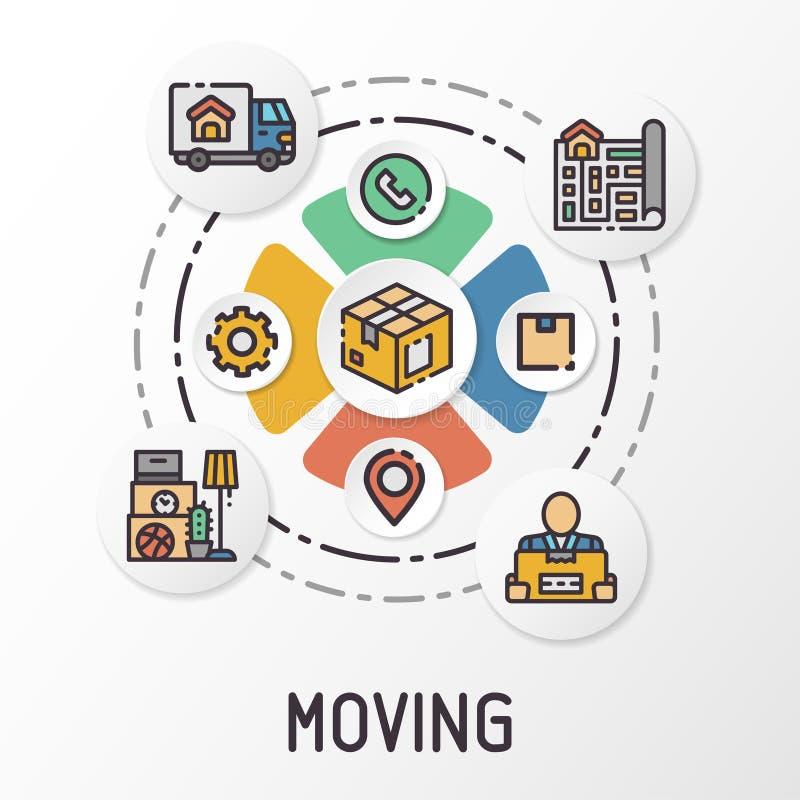 Mover-se e entrega de Infographics usando ícones coloridos Ilustração do vetor ilustração stock