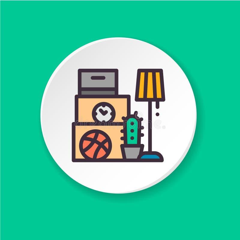 Mover-se liso do ícone Conceito empacotado imagem de stock royalty free