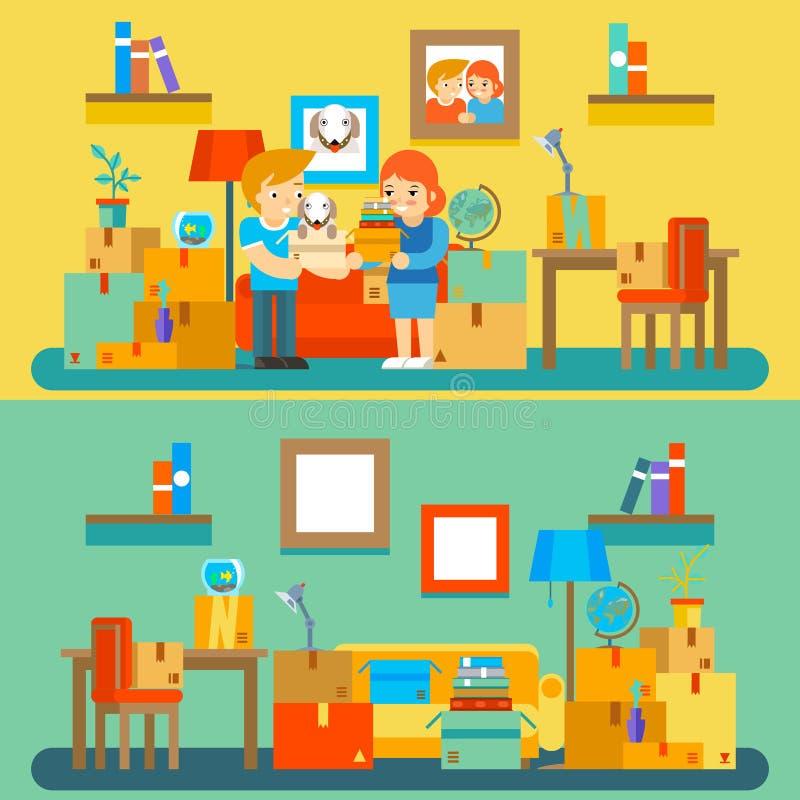 Mover-se no apartamento novo Mudança ou compra ilustração stock