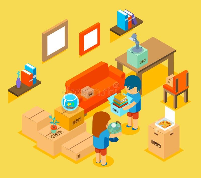Mover-se no apartamento novo Vetor 3d isométrico ilustração royalty free