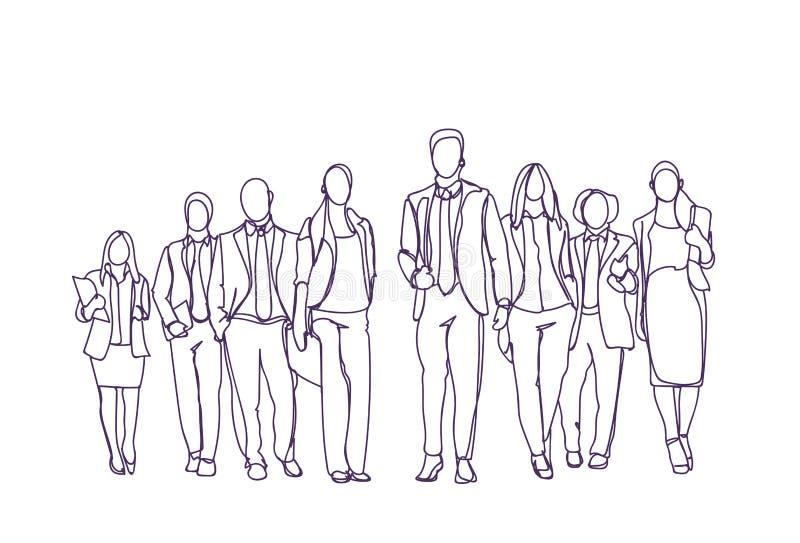 Mover-se tirado mão do grupo dos empresários para a frente sobre o fundo branco, Team Of Sketch Business People ilustração royalty free