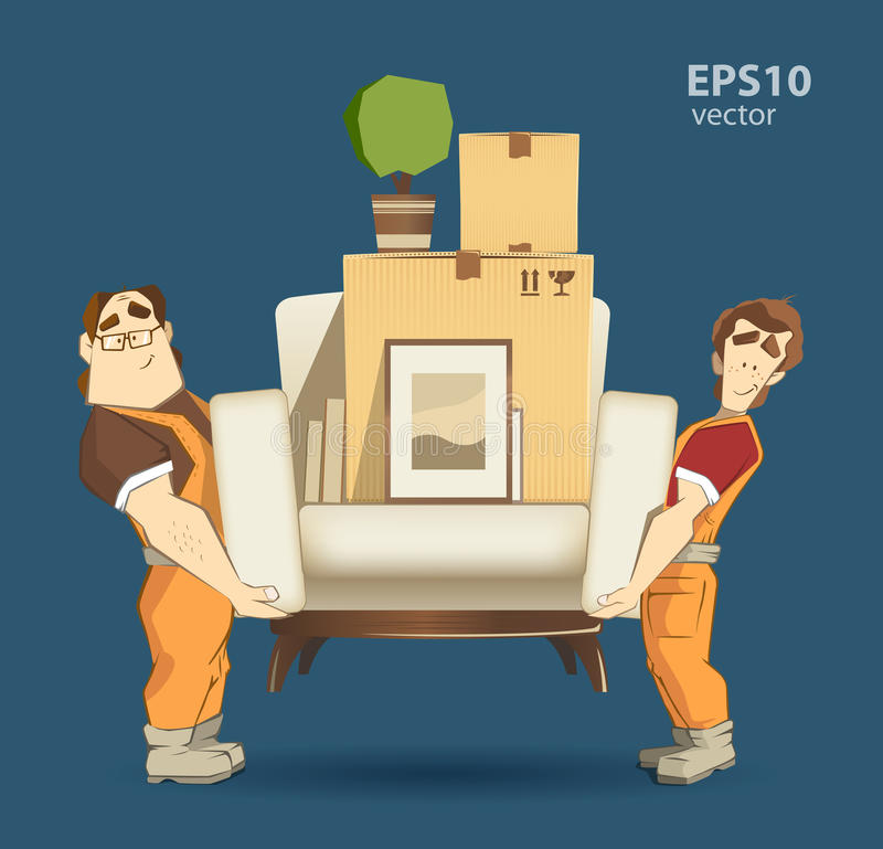 movers illustration stock photo image of cardboard professional 64753424. Black Bedroom Furniture Sets. Home Design Ideas