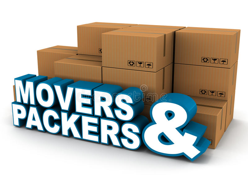 Movers packers. Movers and packers concept, words in front of a pile of packed belongings in cardboard boxes, white background