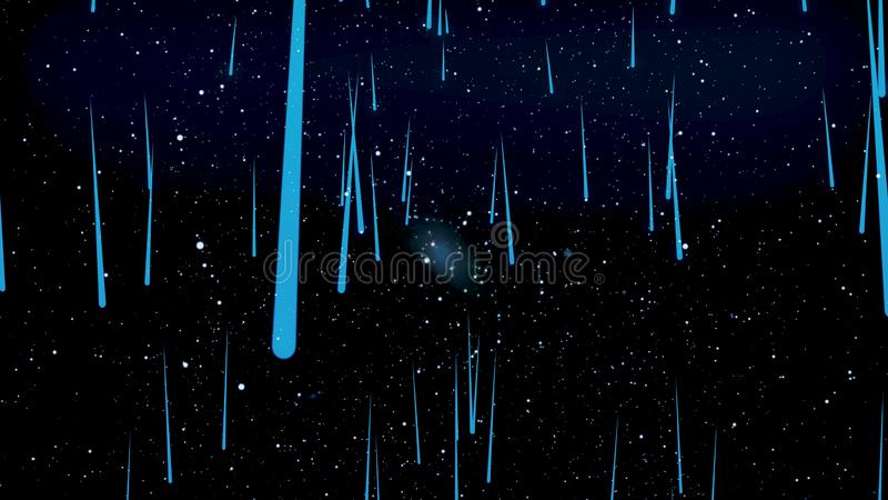 Moviéndose a través del espacio estelar, abstracción hermosa con las estrellas azules que caen del cosmos, concepto del infinito  libre illustration