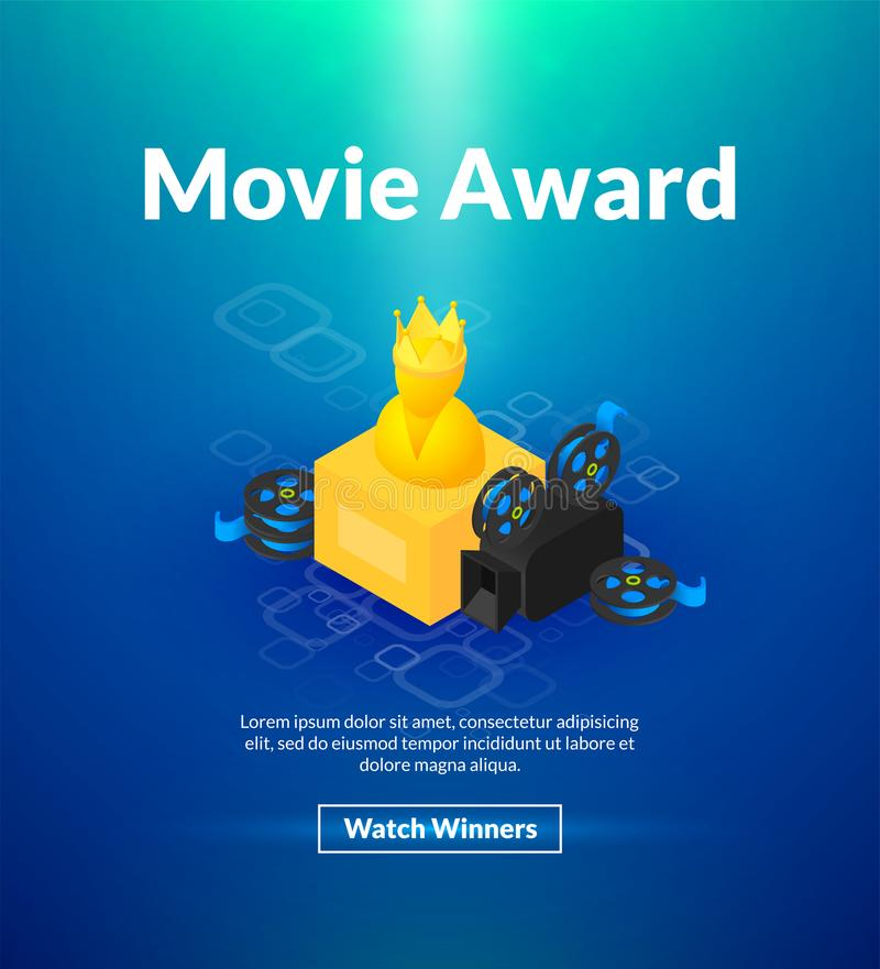 Movie award poster of isometric color design vector illustration