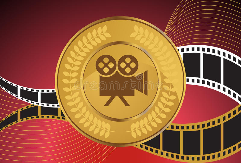 Movie Background: Camera Coin. Theatrically themed 3D background with film reel, coin, camera and laurel wreath elements stock illustration
