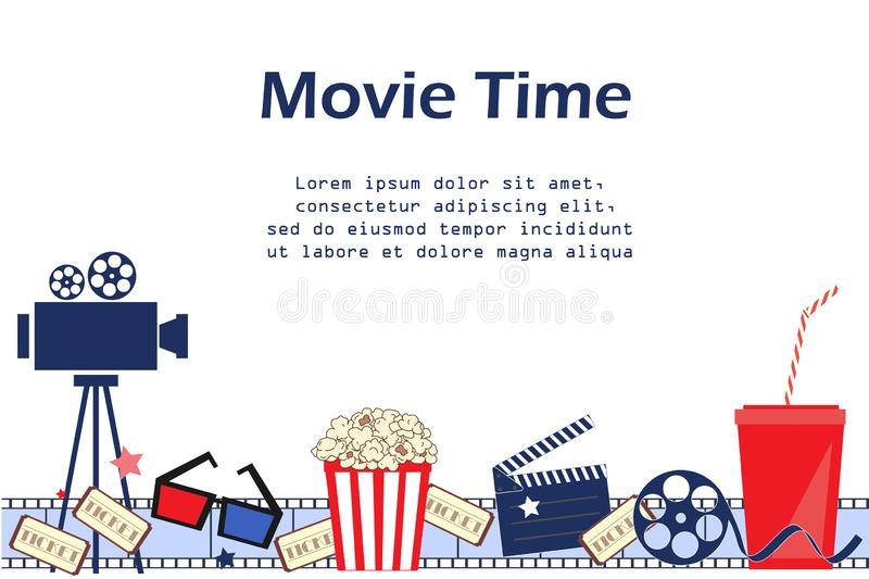 Movie background with cinema attributes. Seamless pattern vector illustration