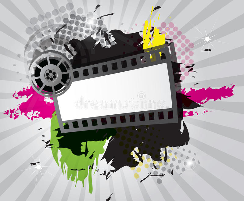 Movie background with film strip royalty free illustration