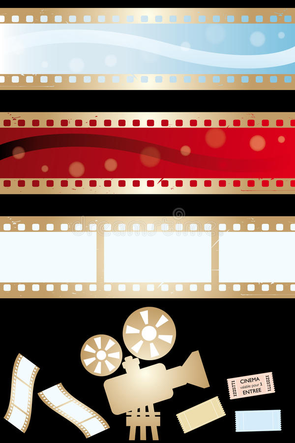 Movie banners and paraphernalia. Isolated on black - vector illustration stock illustration