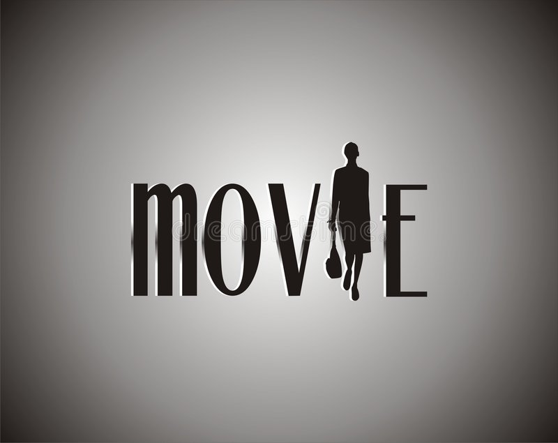 Movie on black and white vector illustration