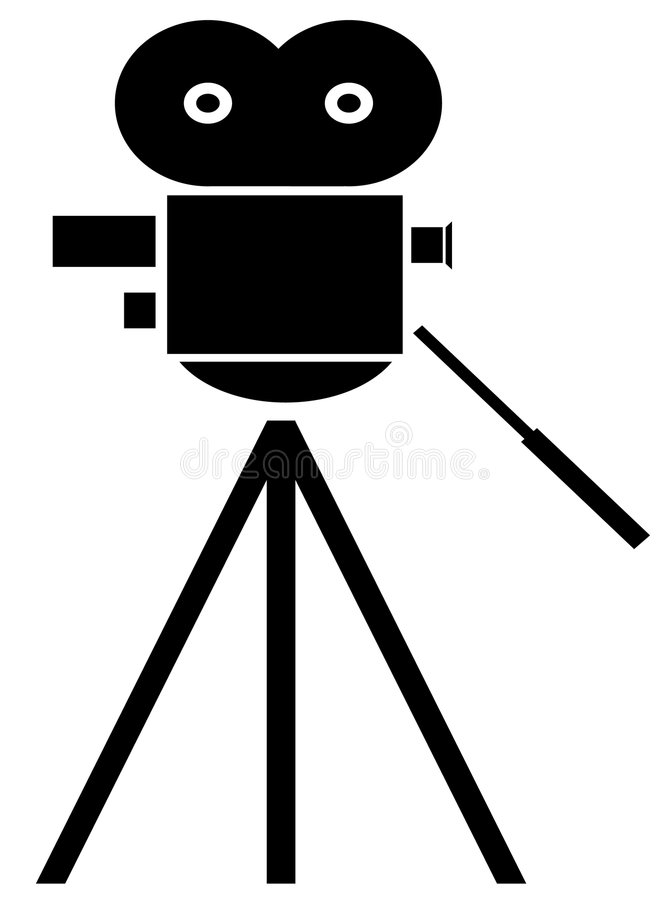 Movie camera. Black silhouette of movie camera on white background - vector